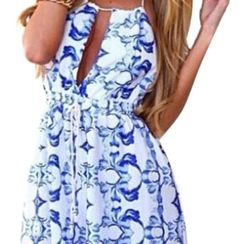 White Cut-Out Hater Neckline Backless Romper with Blue Floral Print