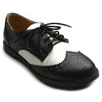 Ollio Women's Flat Shoe Wingtip Lace Up Two Tone Oxford Black 11 B(M) US '