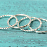 Stacking rings sterling silver stack rings - select a ring - twisted - round - beaded - hammered - stacking rings - stackable - 14 ga - thin