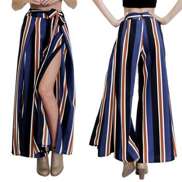 High Waist Women Pants Fashion Flare Wide Leg Capris Lady Long Trousers Sexy Striped Pants Leggings