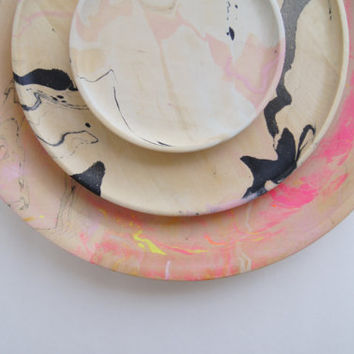 Wooden Plates + Modern Marbling = New Products
