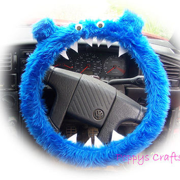 Monster Roar Royal Blue steering wheel cover faux fur fluffy furry fuzzy car cute googly eyes teeth