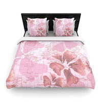 "Catherine Holcombe ""Flower Power Pink"" Map Lightweight Duvet Cover"