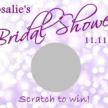 10 Purple Bridal Shower Scratch Off Cards