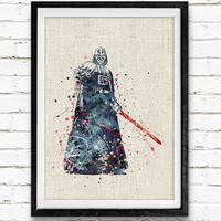 Star Wars Darth Vader Watercolor Art Print, Minimalist Art Print, Watercolor Poster, Home Decor, Not Framed, Buy 2 Get 1 Free!