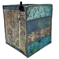 Home Storage Organizer Pencil Box in Teal and Grey Batik