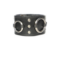 Lucky Dog Ring Cuff - Black on Silver