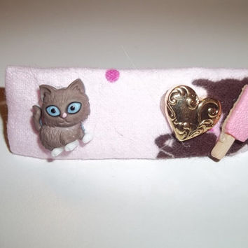 Hair Barrette - Brown Cat Loves Strawberry Ice Cream - on Pink (Right) - Cat Ornament Hair Clip