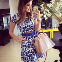 Blue And White Tile Print Two Piece Dress