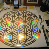 """Xtra LARGE Flower of Life Sticker. Prismatic  Rainbow Gold.  22"""""""