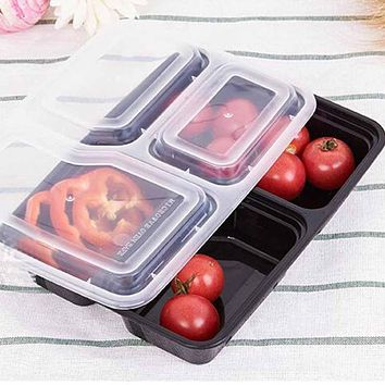 10pcs Disposable Food Container 1000Ml Black Meal Prep Picnic Food Storage Boxes Microwaveable PP Lunch Bento Box #05