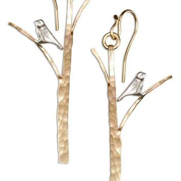 Sterling Silver Earrings:  And 12 Karat Gold Filled Hammered Tree With Bird Earrings
