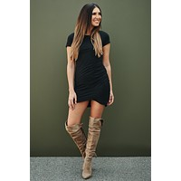 Find Another You Ruched T-Shirt Dress (Black)