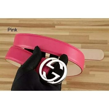 GUCCI tide brand men and women models simple wild smooth buckle belt pink