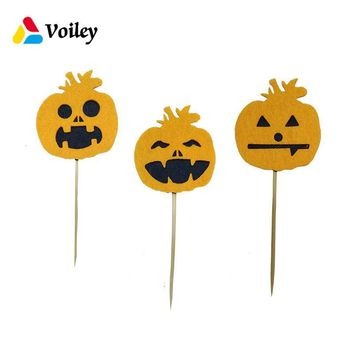 VOILEY 5pcs Halloween Party Pumpkin Cupcake Topper Baker Bamboo Sign Wedding Birthday Party Decor Baby Shower Favors Supplies,5