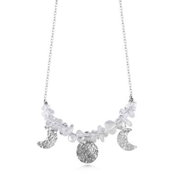 Moon Phase Necklace with Quartz Crystal & Sterling Silver