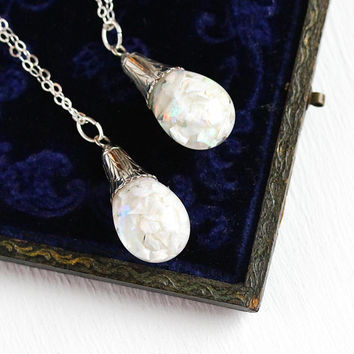Floating Opal Necklace - Vintage 12k White Gold Filled Floating Opal Pendant - 1940s Play of Color Chips Glass Orb Gemstone Sterling Jewelry