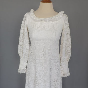 Vintage 1960s 70s Lace Wedding dress cotton Crochet lace Long Sleeve 60s dress Maxi Dress Boho Prom Gown Festival Hippie Bride Small XS