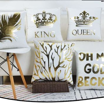 Cool Free shipping gold Crown King Queen feather coral pattern house decorative cushion cover sofa chair throw pillow case 45cm*45cmAT_93_12