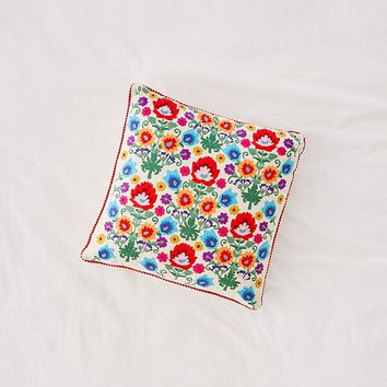 Embroidered Folk Floral Pillow | Urban Outfitters