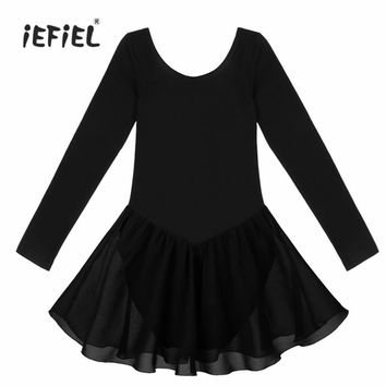 Cotton Long Sleeve Girls Ballet Dress Party Fancy Costume Girls Ballet Tutu Dress Ballet Dancewear Leotard Dress for Performance
