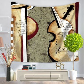 CAMMITEVER Retro Violin Rectangular Tapestry Indian Mandala Tapestry Wall Hanging Digital Printing Beach Towels Vintage Feel