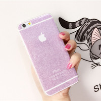 High quality Macaron Glitter Bling Bling Shining Sparkling Girls Soft Gel TPU Phone Case cover for iphone 5 5 6 6 s s 6 Plus 1520-0916