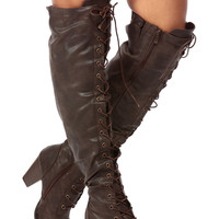Brown Distressed Faux Leather Knee High Lace Up Chunky Boots