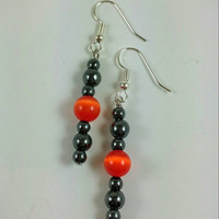 Hematite earrings,Black bead drop earrings, Hematite jewelry, Halloween earrings, orange cateye beads, holiday gift idea, cateye jewelry