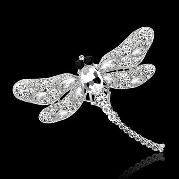 Fashion Animal Brooches For Women Gold Plated Cz Diamond  Dragonfly Christmas Brcooh Pin Dress Jewelry Gift Free Ship