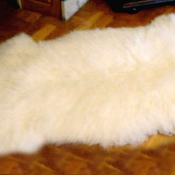 Scandinavian Decorative Sheepskin Rug/ Large Sheep Fur Pelts/ Throw Pelts/ Milky Supersoft Pelt/ Three Snails/ Free Shipping!