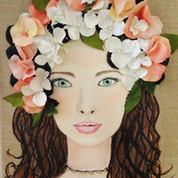 Original Flower Girl Mixed Media Collage. Brown Hair Blue Eyes Wall Art. Original Painting on Canvas.