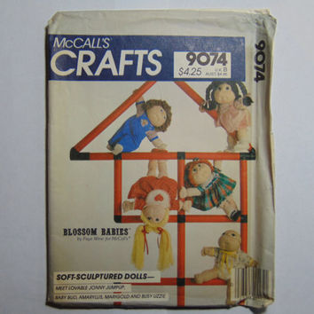 McCall's Craft Sewing Pattern 9074 Blossom Babies Stuffed Dolls and Wardrobe