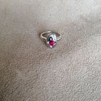 Sweet Egg Ring, highly polished sterling silver with beautiful garnet color stone accent, unique modern design