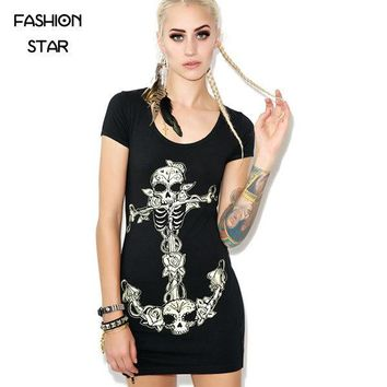 Cotton Women's Zipper Jag Backless Skull Printing Dress Lady Fashion Party Street Dress