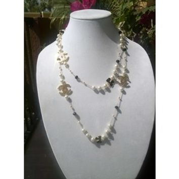 "Classic 52"" Designer Pearl & Crystal Charm Opera Necklace"