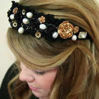 Dolce & Gabbana inspired headband, crown, tiara - Baroque, floral, pearls, black lace, gold roses