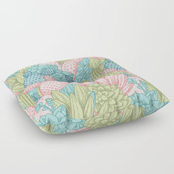 Pastel Cacti Obsession #society6 Floor Pillow by cadinera