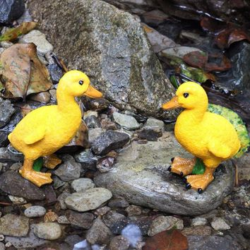 2PCS Hand Carved Resin Duck Figurine Garden Sculpture decoration,Outdoor statue - Home Fairy Garden Yard Decor Figures Ornament