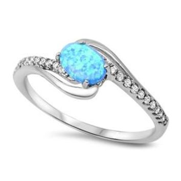 Sterling Silver Oval and Side Stones Channel Ring 9MM Blue Lab Opal