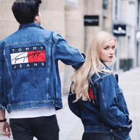 Tommy Hilfiger Woman Men Denim Cardigan Jacket Coat