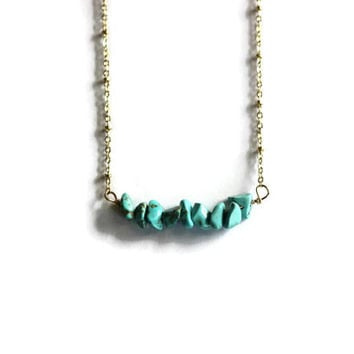 turquoise beads on a 14k gold fill chain, simple gold necklace