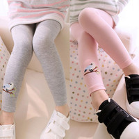 Baby Kid Girl Cotton Pant Embroidery Bird Warm Stretchy Leggings TrousersFree&Drop Shipping