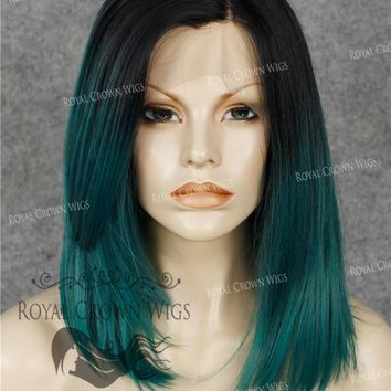 Synthetic Straight Texture Lace Front in Rooted Blue Green Lob with Face Frame