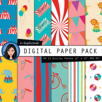 "Circus Digital Paper:""COLORFUL CIRCUS"" Circus Party - Circus Theme - Circus Paper Pack with Circus Scrapbook Paper for Instsnt Download"