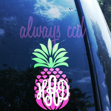 3 Color Perfectly Preppy Monogram Pineapple Decal