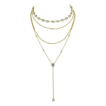 Gold Simple Diamond Pendant Multilayer Necklace