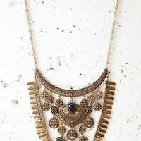 Etched Charm Statement Necklace