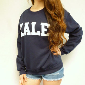 Kale Sweatshirt - Kale Sweater  - Kale University - Tumblr Sweatshirt - Kale Shirt - Funny Sweatshirt - Pullover - Navy Blue Sweatshirt