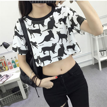 Summer Fashion Crop Top Students Cartoon Cat Printed Female T-shirt Casual